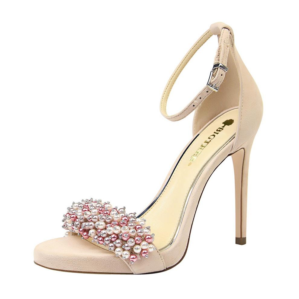 3395-1 Sexy banquet women's shoes with super high heel waterproof platform suede pearl rhinestone word with sandals
