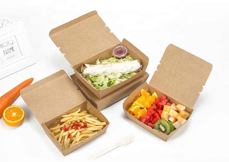 custom size printed fast food kraft paper package takeaway box