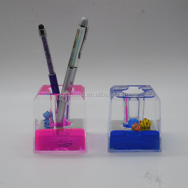 High clear Acrylic aqua Paperweight with 3D Floater desktop Liquid oil Pen Holder