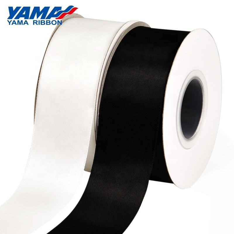 Yama Ribbon 2 inches 50mm polyester white and black satin ribbon wholesale