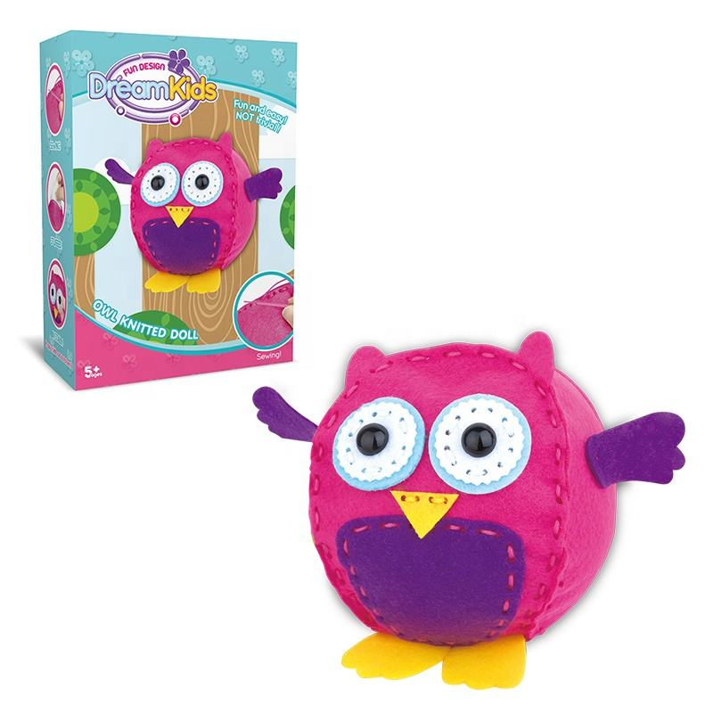 Educational Girls Sewing Funny Owl Shape Toys Doll Kindergarten Handicraft Teaching Tool Animals Hand Craft DIY Kit For Kids