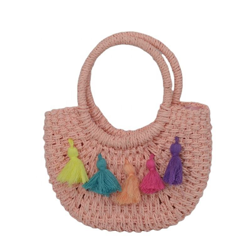 2020 Mini Children 1-6 years satchel Beach Summer Straw tassel handbag
