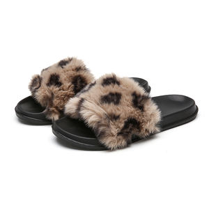 Fur Slippers Sandals USA Wholesale Natural Furry Fluffy Fox Raccoon Mink Fur Slides Mules for Women and Men