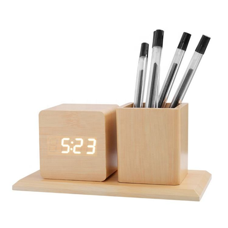 wooden clock with pen holder LED digits light acoustic sound control Thermometer Desk Table alarm Clock for office studuet gift