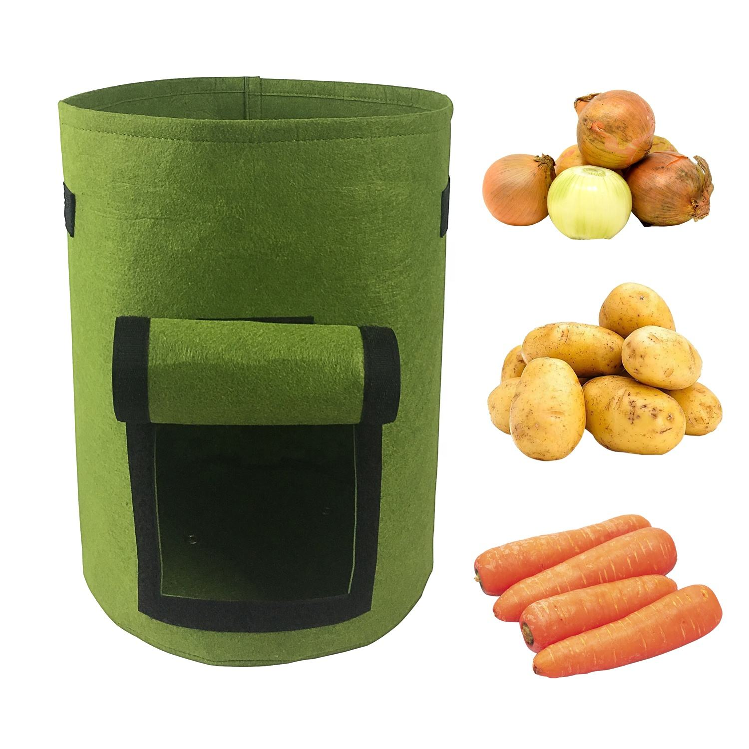 6-Pack 7 Gallons Grow Bags Potato Planter Bag Planting Grow Bags Felt Fabric Pots for Grow Vegetables,Potato,Carrot and Onion