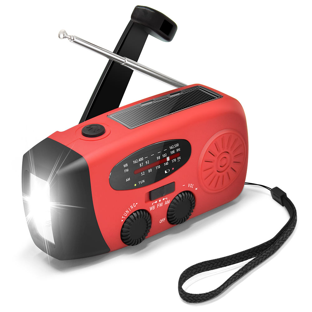 Rechargeable Emergency solar crank Mini AM FM WB Radio with USB cable