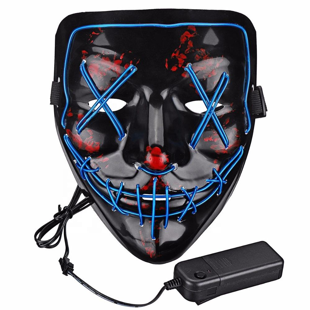 2019 Amazon hotsale halloween decoration light up DJ party neon glowing el wire purge rave LED party mask