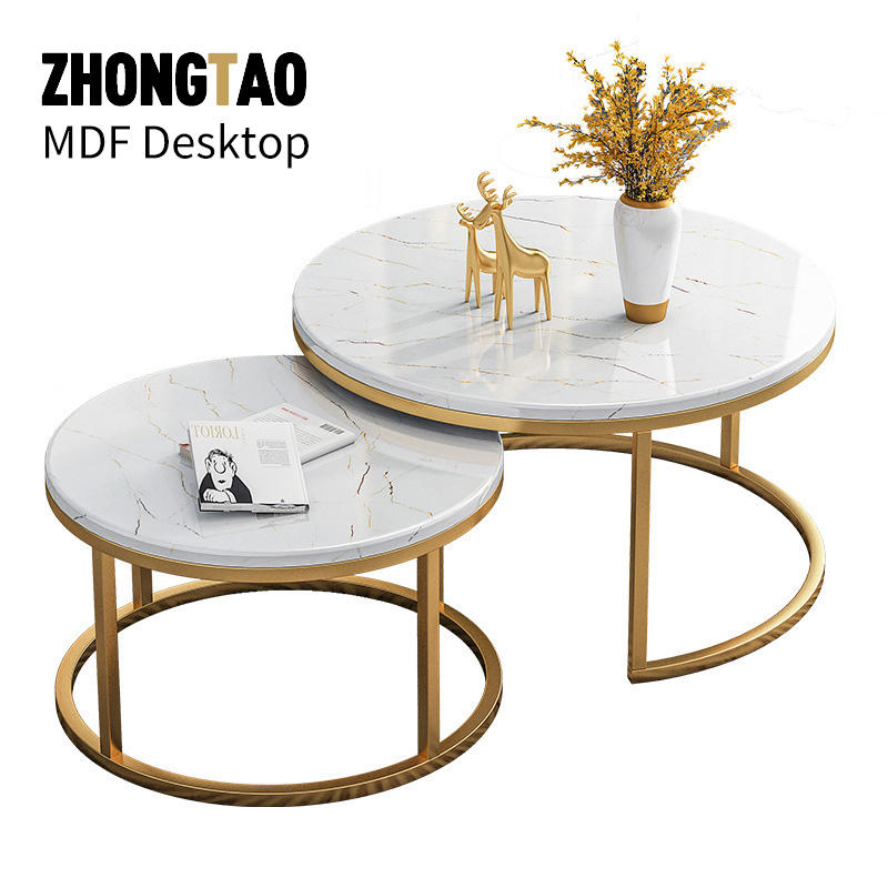 Golen Modern marbling MDF round tea table sofa side simple wrought steel coffee table