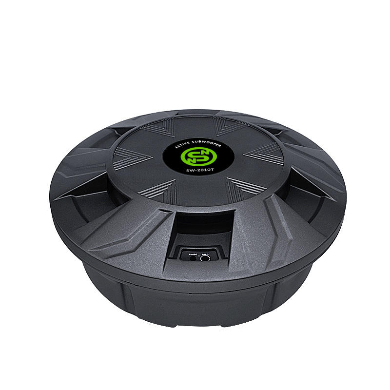 Factory Supply professional active car spare tire subwoofer with aluminum box dual voice coil