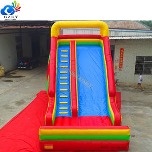 Colorful rainbow inflatable outdoor slide
