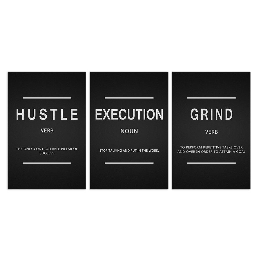 Inspirational Wall Art 3 Panels Framed Hustle Execution Grind Entrepreneur Quotes Office Wall Decor Motivational Canvas Posters
