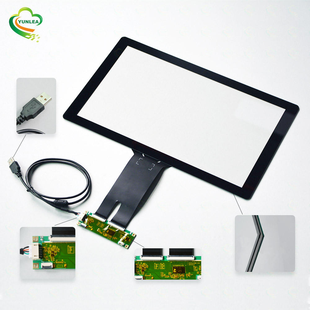 Yunlea multi touch industrial touchscreen EETI ILITEK usb pacp 15.6 inch capacitive touch screen panel overlay kit