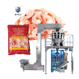 Kitech high accuracy frozen shrimp/chicken wings packaging packing machine with automatic weighing