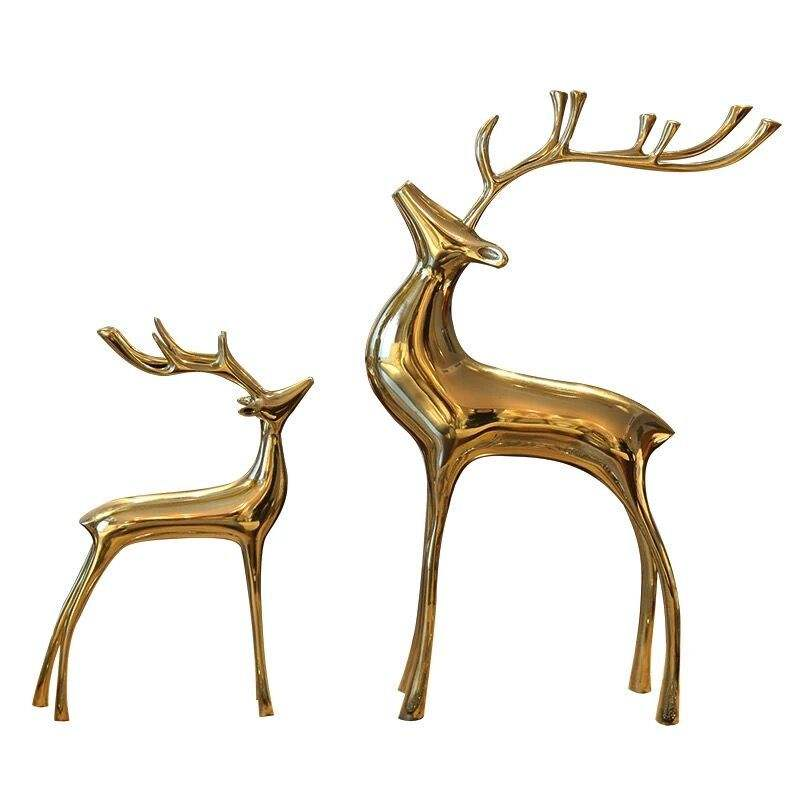 Sculpture Deer Figurine Animal Decor for Home Gifts Souvenirs Gift Box Sculpture Brass