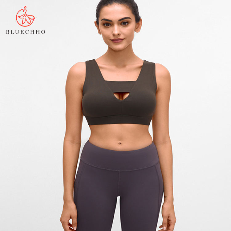 Women's Strappy Sports Bra Low Support Wirefree Seamless Yoga Bra