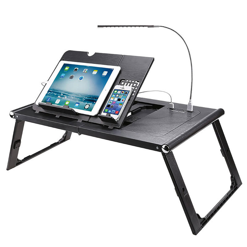 LD99-2 plastic foldable portable computer table with USB LED light learning table