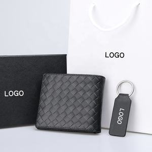 Custom logo rfid wallet men keychain leather men gift set