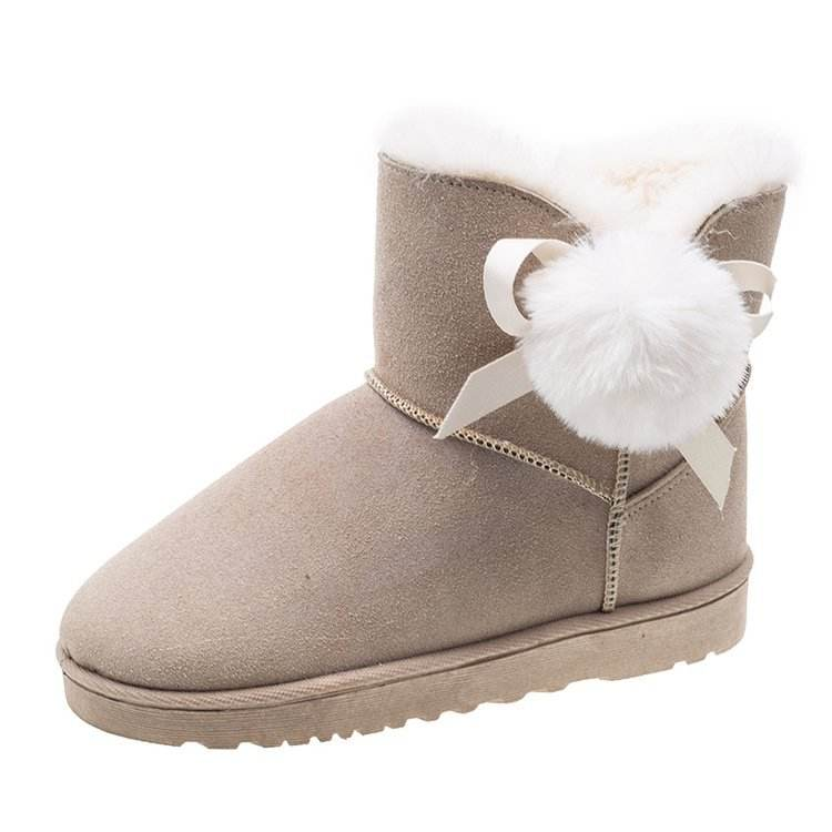 Luxury fashion winter warm faux fur cow suede house slippers outdoor waterproof shoes winter snow boots women