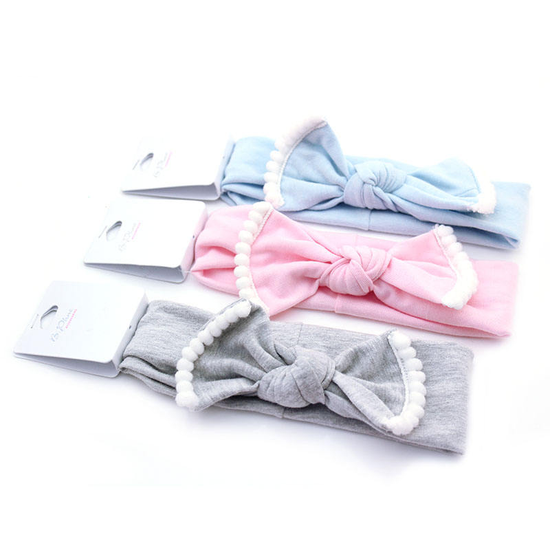 Eco-friendly colorful baby girl hair ties elastic hair band bow headband for baby