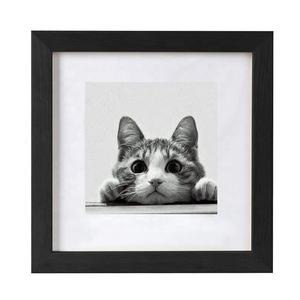 Home Decor 10x10 Black Picture Frames Matted to 6x6 Wooden Photo Frame for Wall Hanging
