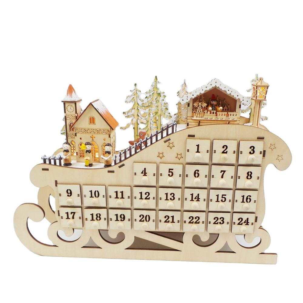 Sperrholz Laser Cut Light Up Weihnachten Holz Advent Kalender