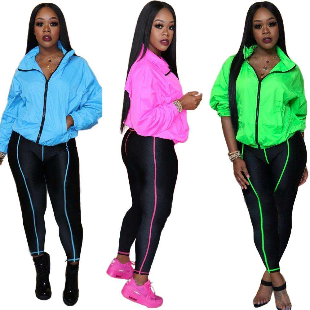 Wholesale High Quality Sports Women Warm Long Sleeve Pants 2 Pieces Set Neon Outfits Tracksuits