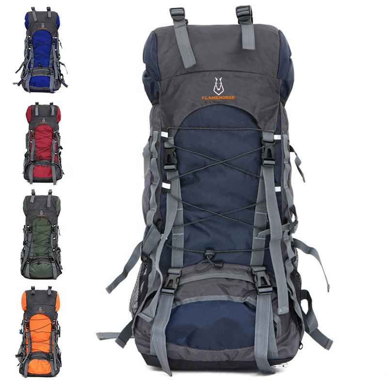 Custom Foldable Mountaineering Backpacks Extra Large 70L Nylon Lightweight Waterproof Durable Camping Travel Hiking Backpacks