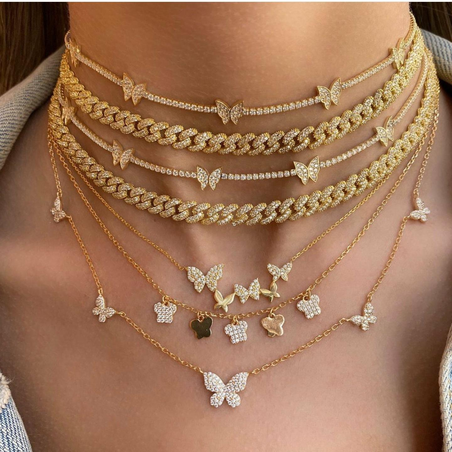 Barlaycs 2021 Statement Stainless Steel Zircon Gold Tennis Chain Butterfly Layered Choker for Women Jewelry Pendant Necklace