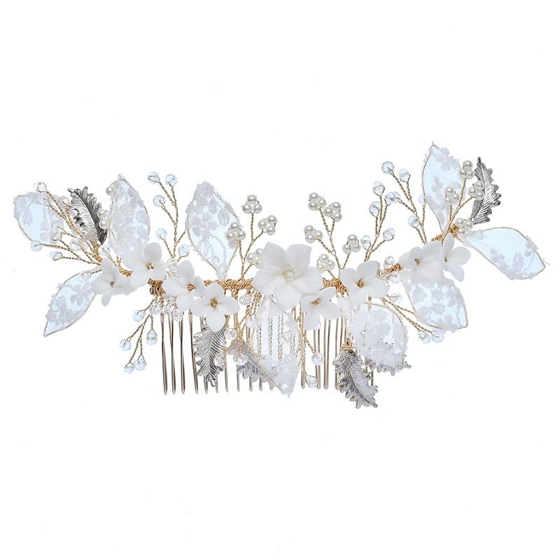 Best Selling Bridal Hair Comb Handmade Ceramic Flower Lace Headpiece Wedding Jewelry Hair Accessories Side Combs