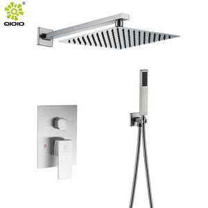 Brushed nickle silver bathroom shower hot and cold shower mixer in wall mounted rain concealed shower set