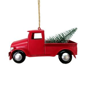 Personalized Christmas Metal Red Truck Tree Ornament