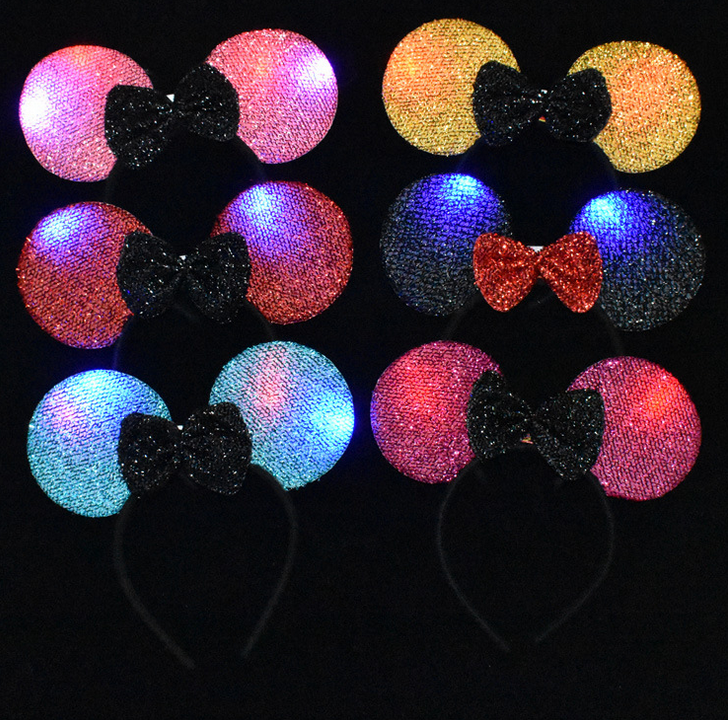 Bella Light Up <span class=keywords><strong>Mickey</strong></span> <span class=keywords><strong>Mouse</strong></span> Ears Fascia LED Lampeggiante Di Natale Minnie Hairband