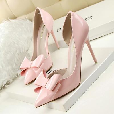 Fashion Delicate Sweet Bowknot High Heel Shoes Side Hollow Pointed Women Pumps Pointed Toe dünne Dress Shoes