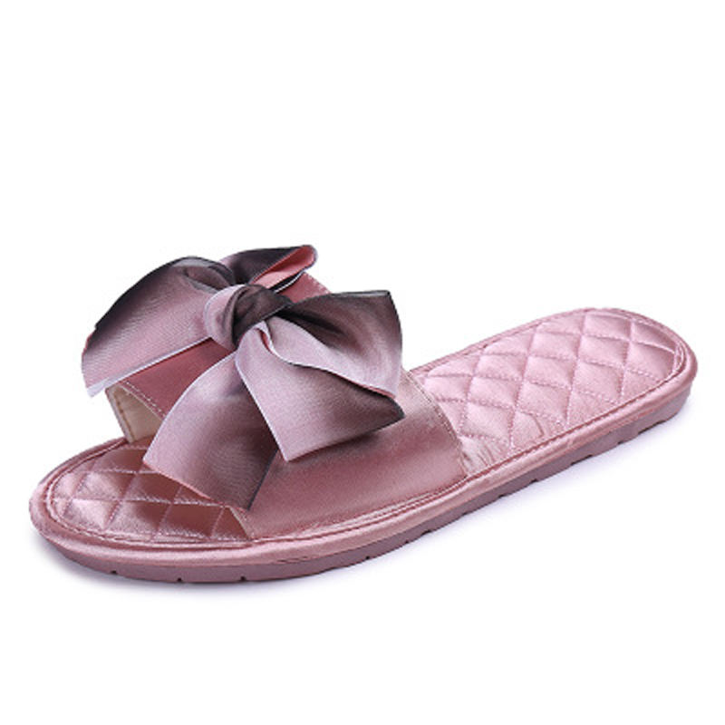 2020 open toe slippers bow slides satin slippers