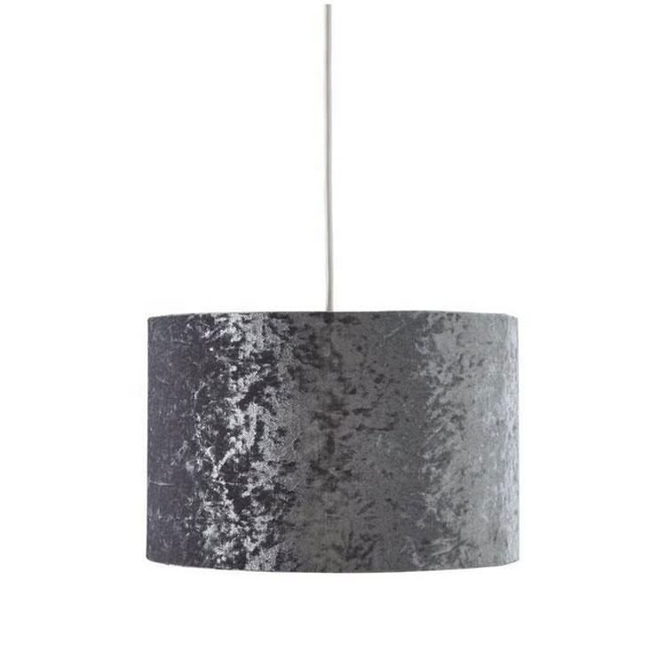 Lottie Crushed Velvet Easy Fit Light shade - Black/Blush/Silver/Teal/Ivory/ Dia35cm crushed velvet lampshades