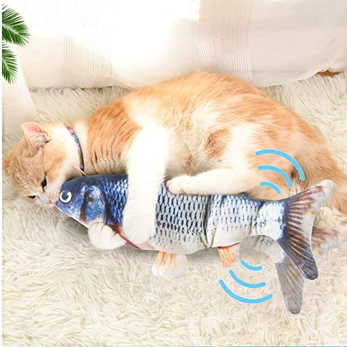 Cat Chew Toys Moving Fish, Simulation Realistic Electric Doll Fish, Wiggle Catnip Toys for Cat Exercise Kicker Biting