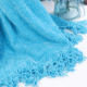 Super Soft Touch Blue Chenille Blanket Throw with Fringe for Home Bed Sofa Couch Chair
