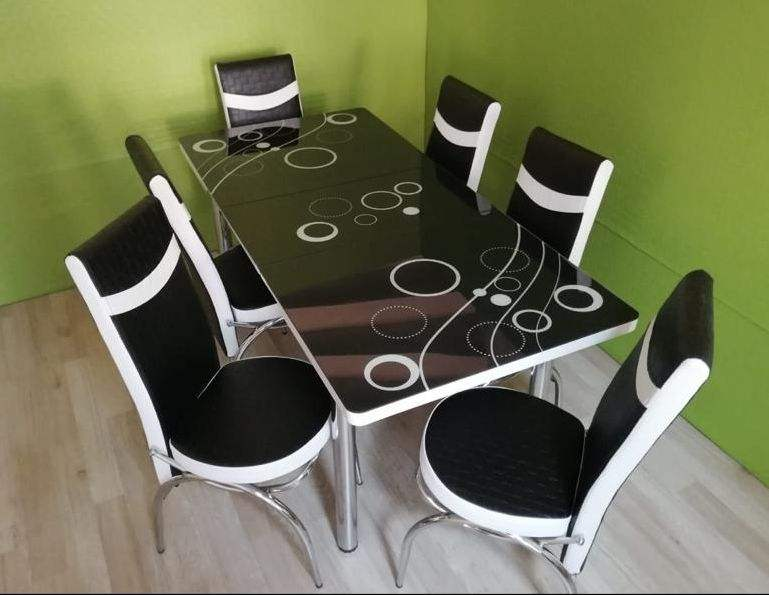 Glass Table + 6 Chairs Set expandable multi color Turkish design