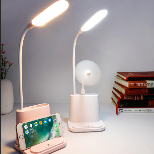 Study Reading Pen Holder Table Led Light Touch Control Dimmable USB Battery Operated Desk Lamp With phone holder