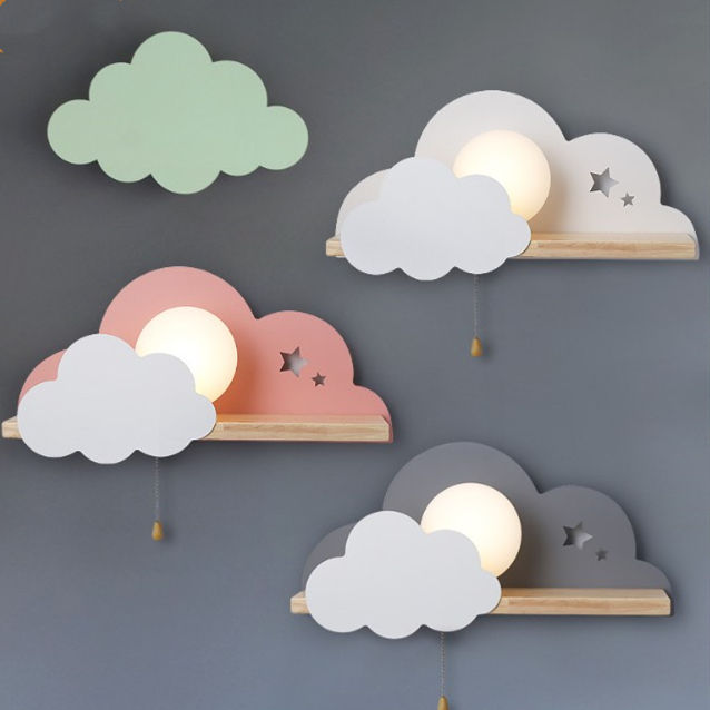 Children LED Wall Lamp For Bedroom Glass Lampshade Cloud Metal Cartoon Boys Bedside Lighting