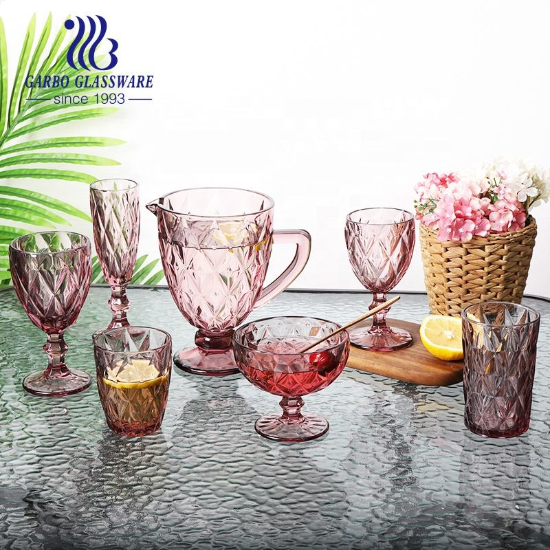 Wholesale glass drinkware drinking water jug set 7pcs glassware with cups tumbler stemware in pink solid color for wedding