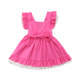 New Brand 2020 Girls Summer Dress Hot Pink Cotton Dress White Lace Lovely Cute Kids Sundress