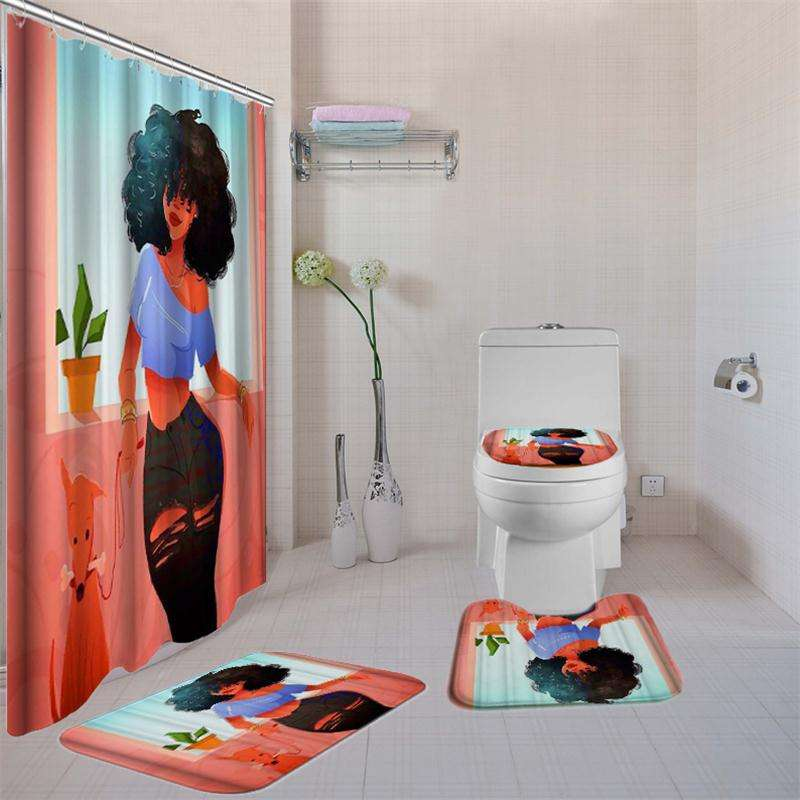 African Shower Curtain and Bath Rug Set with Non-Slip Rugs,Toilet Lid Cover and Bath Mat, Bathroom Shower Curtain Sets