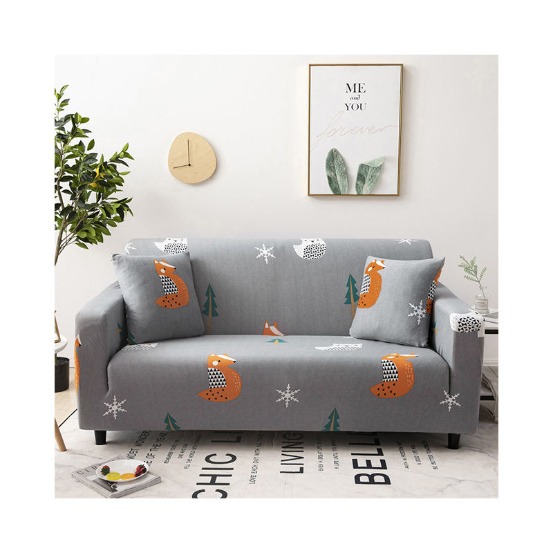 Ready Made Cute Fox Pattern European Furniture Seats Sofa Cover, New Products Polyester 3 Seater Living Room Sofa Covers/