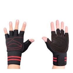 Half-finger sports fitness gloves compression wrist breathable weightlifting gloves gym equipment training non-slip palm guard