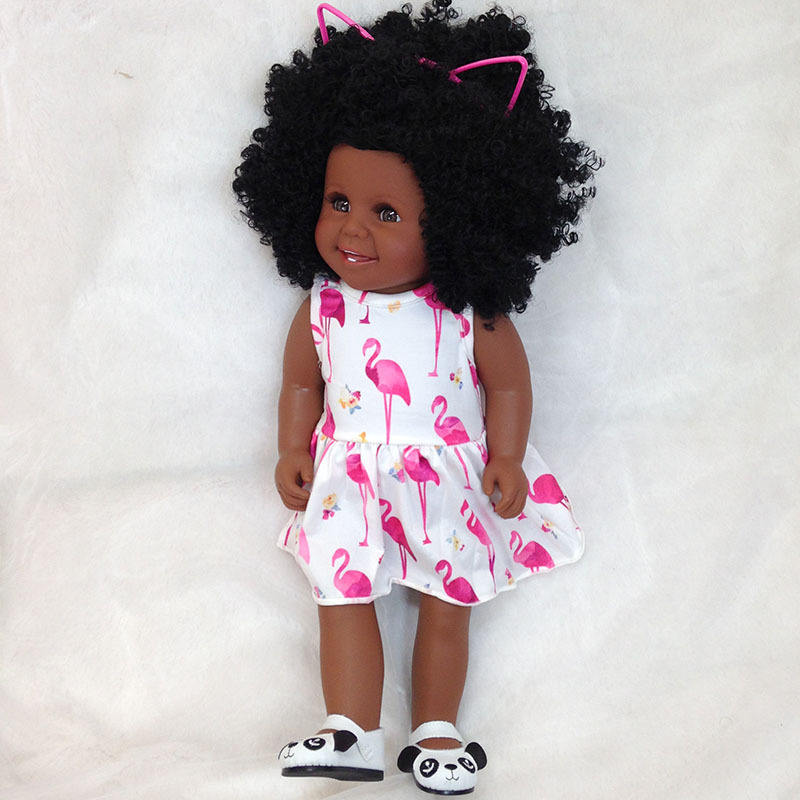 18 inch Soft Silicone American African black reborn doll Bonecas bebe best gift for kids