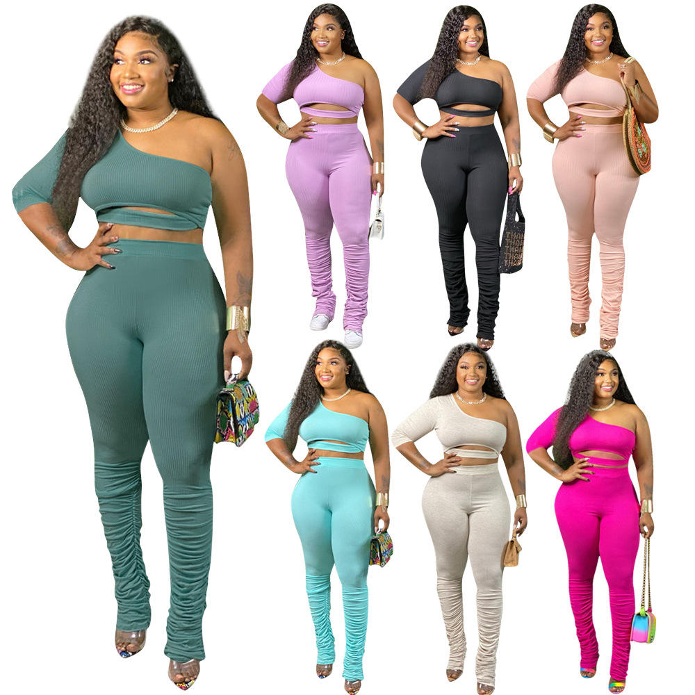 2020 Women Two Piece fall set Jumpsuits 2 Piece Set Plus Size Clothing Stacked Pant Leggings Trousers