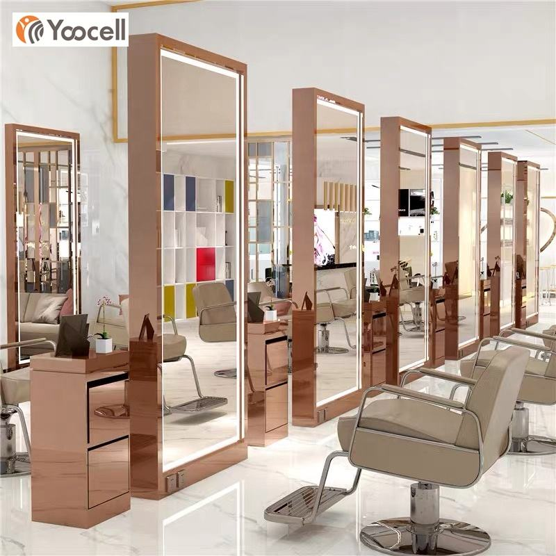 Yoocell full length salon mirror station led stying mirror beauty salon furniture gold mirror
