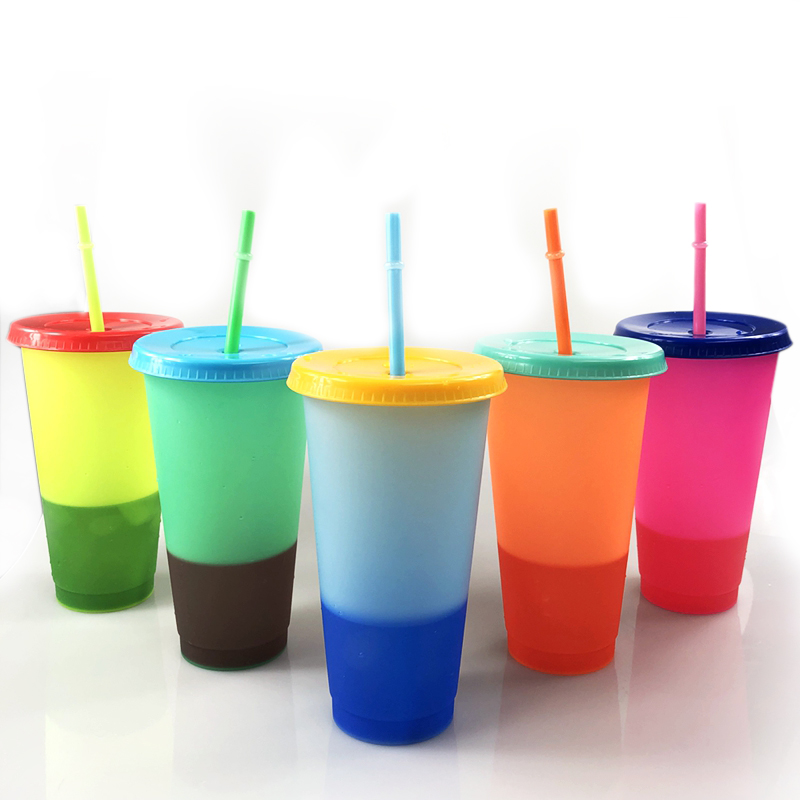 24oz Blank Color Change Drink Tumblers Reusable Plastic Color Change Cups with Straws Set of 5