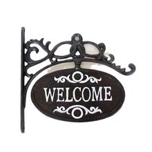 Antique cast iron metal crafts home retail store wall mount welcome sign decorative piece for sale home decor